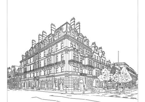 Line art city building