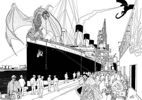 Fantasy dragon onn ship