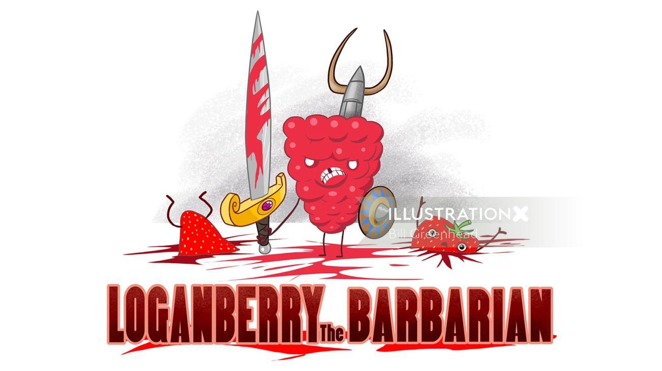 Loganberry the Barbarian comic art