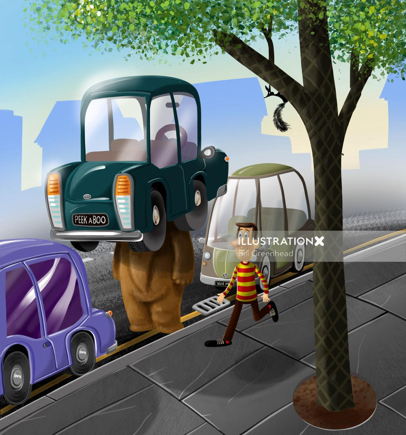 Illustration of Bear playing hide and seek in the city