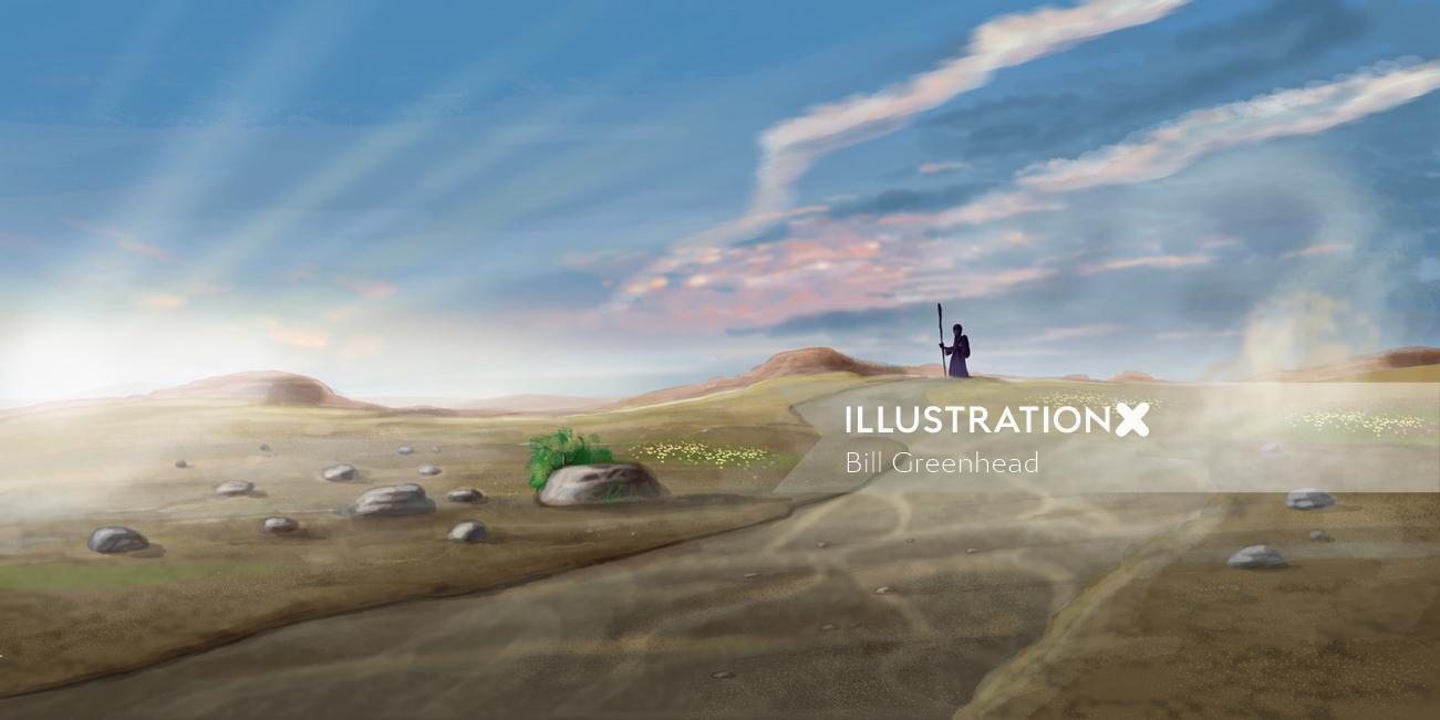 Landscape illustration for a children's bible
