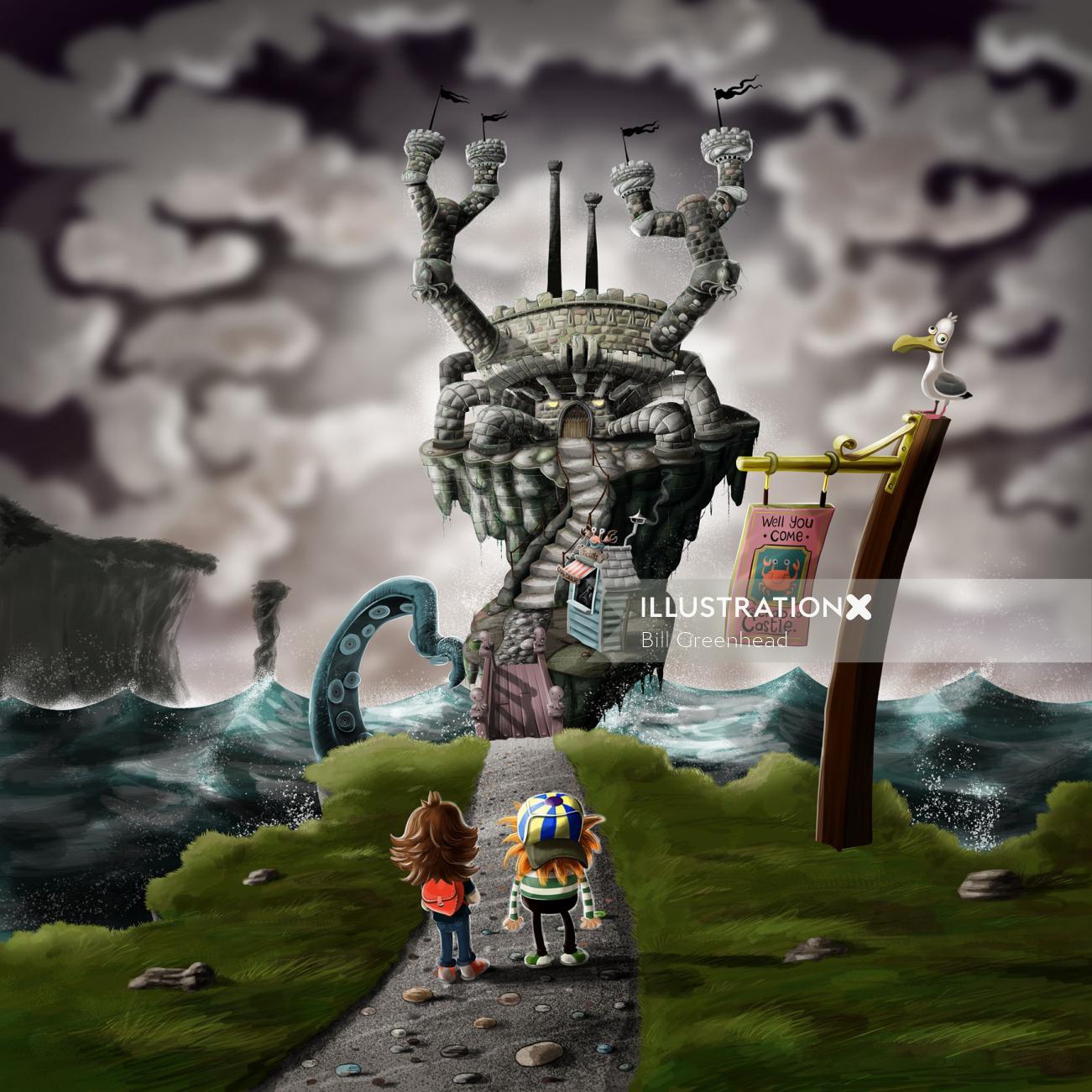 Fantasy illustration of Crab Castle