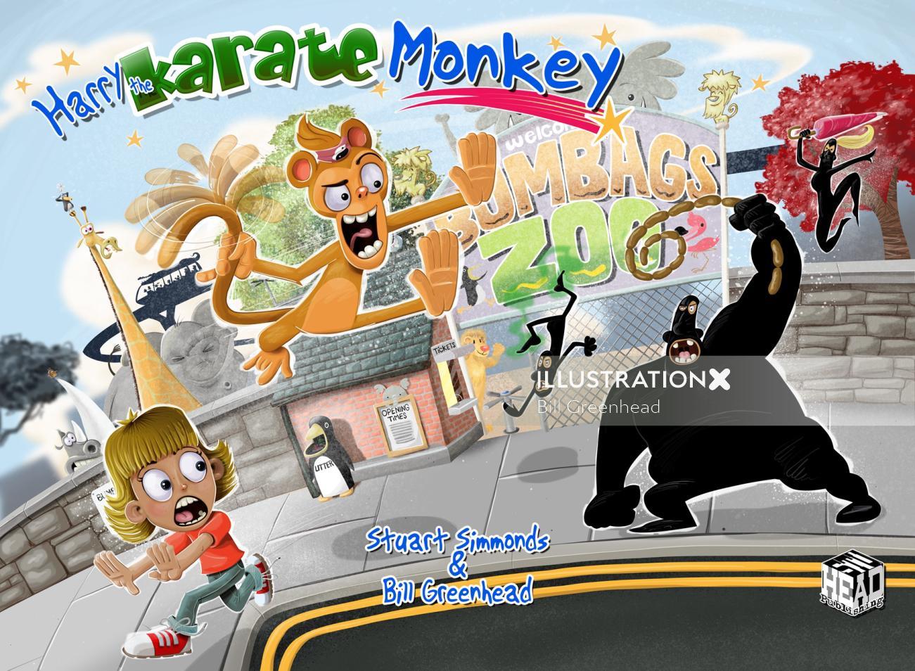 comic art poster Harry the Karate Monkey