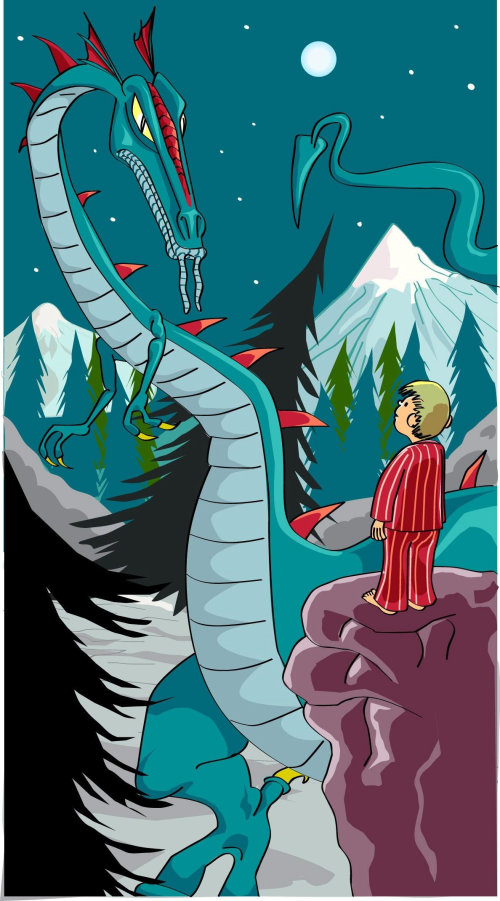 Children book illustration of Dragon night