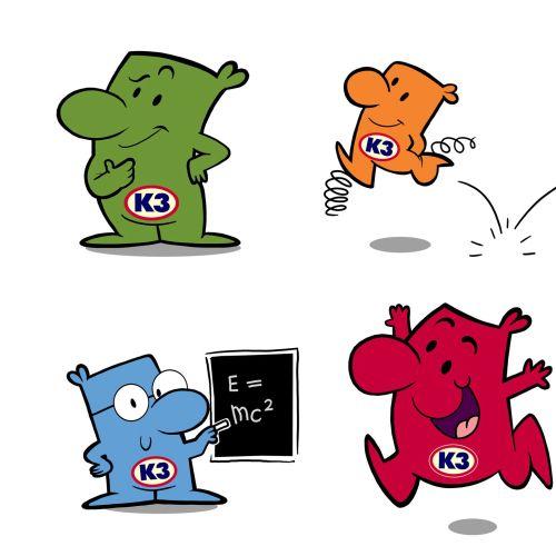 Cartoon illustration of 4 Guys from K3