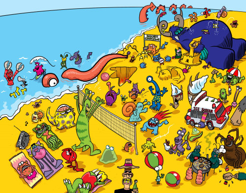 Monster Beach graphic design for Sky Kids Magazine