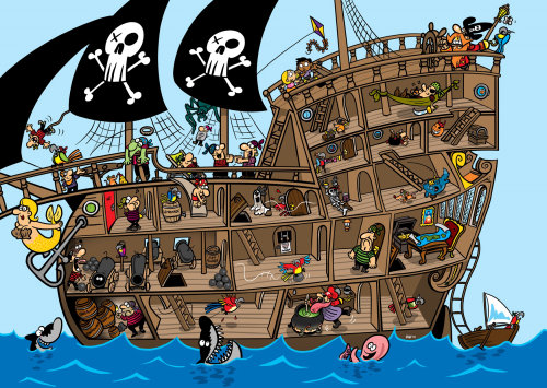 Pirate Ship for Sky Kids Magazine by Bill Greenhead