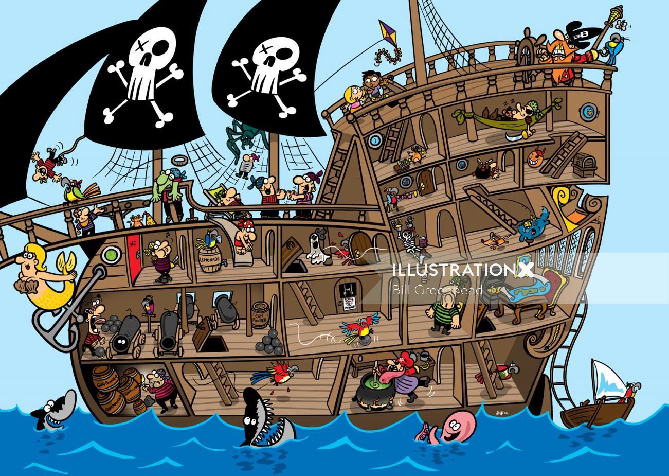 Pirate Ship for Sky Kids Magazine by Bill Greenhead