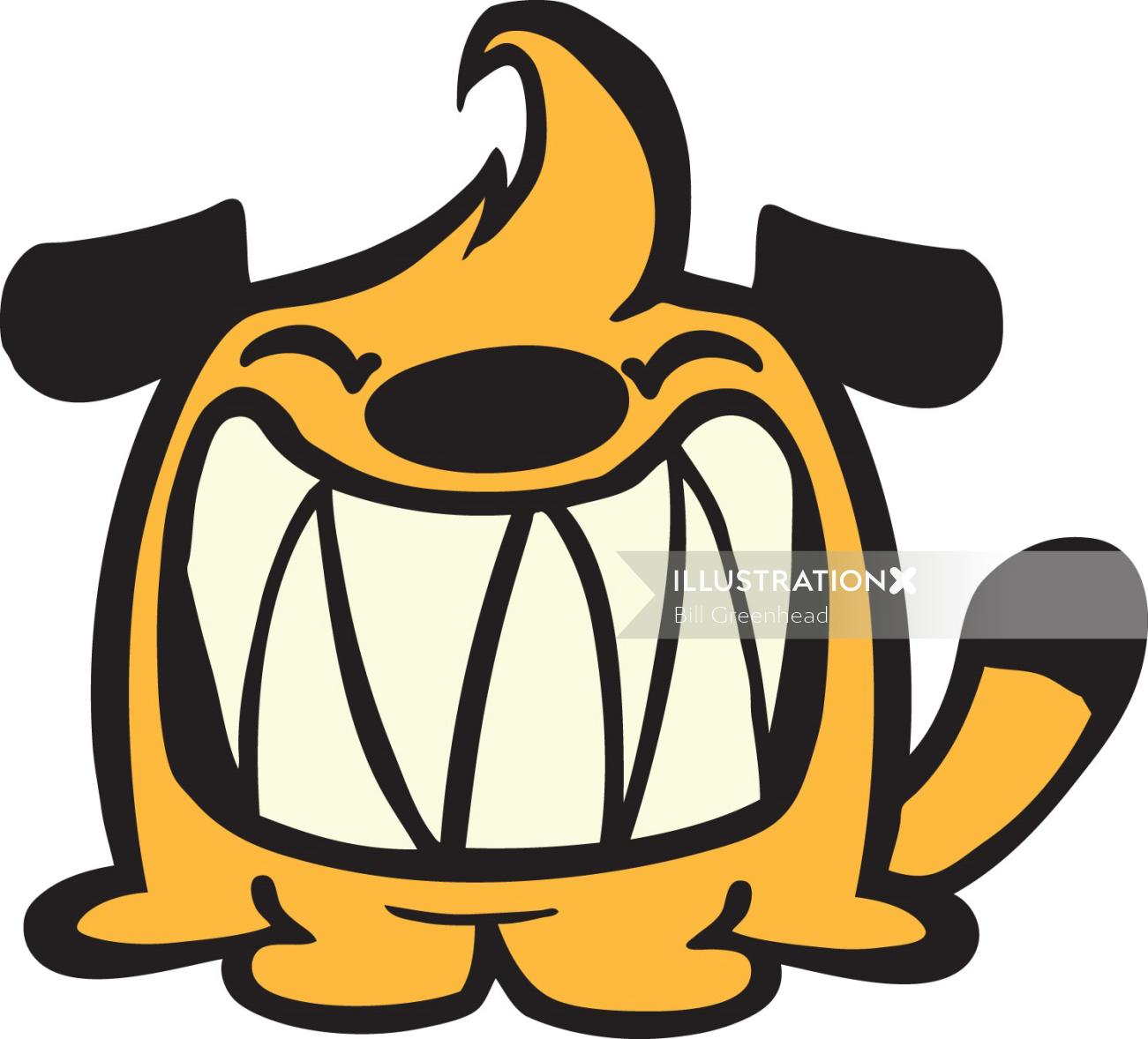 retro cartoon sausage dog