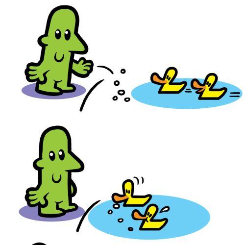Graphic illustration of Ducks feed man