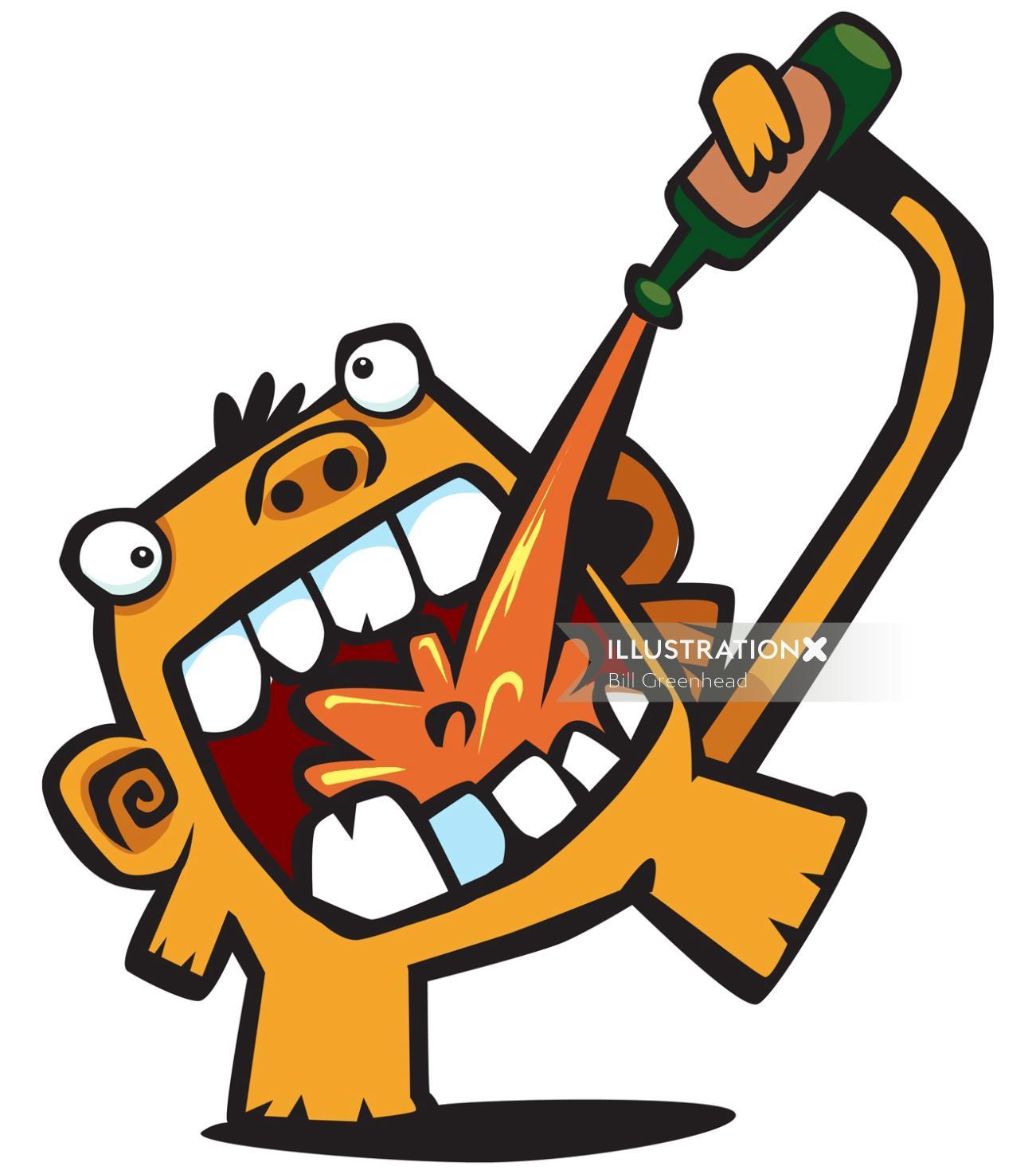 Beer monkey illustration
