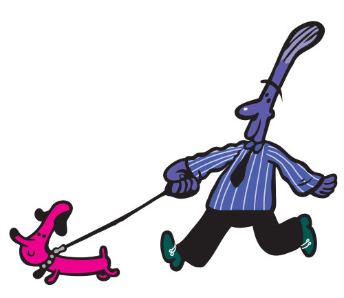 Cartoon character illustration of doggie walk