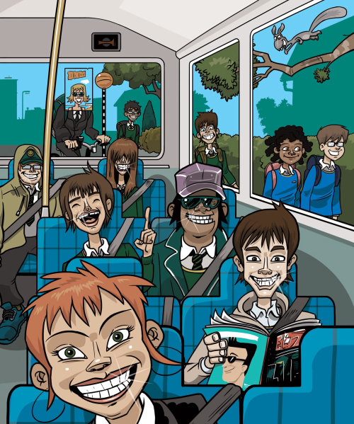 People in bus bus Travel Code Illustration