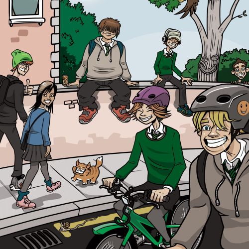 street scene travel code illustration by Bill Greenhead