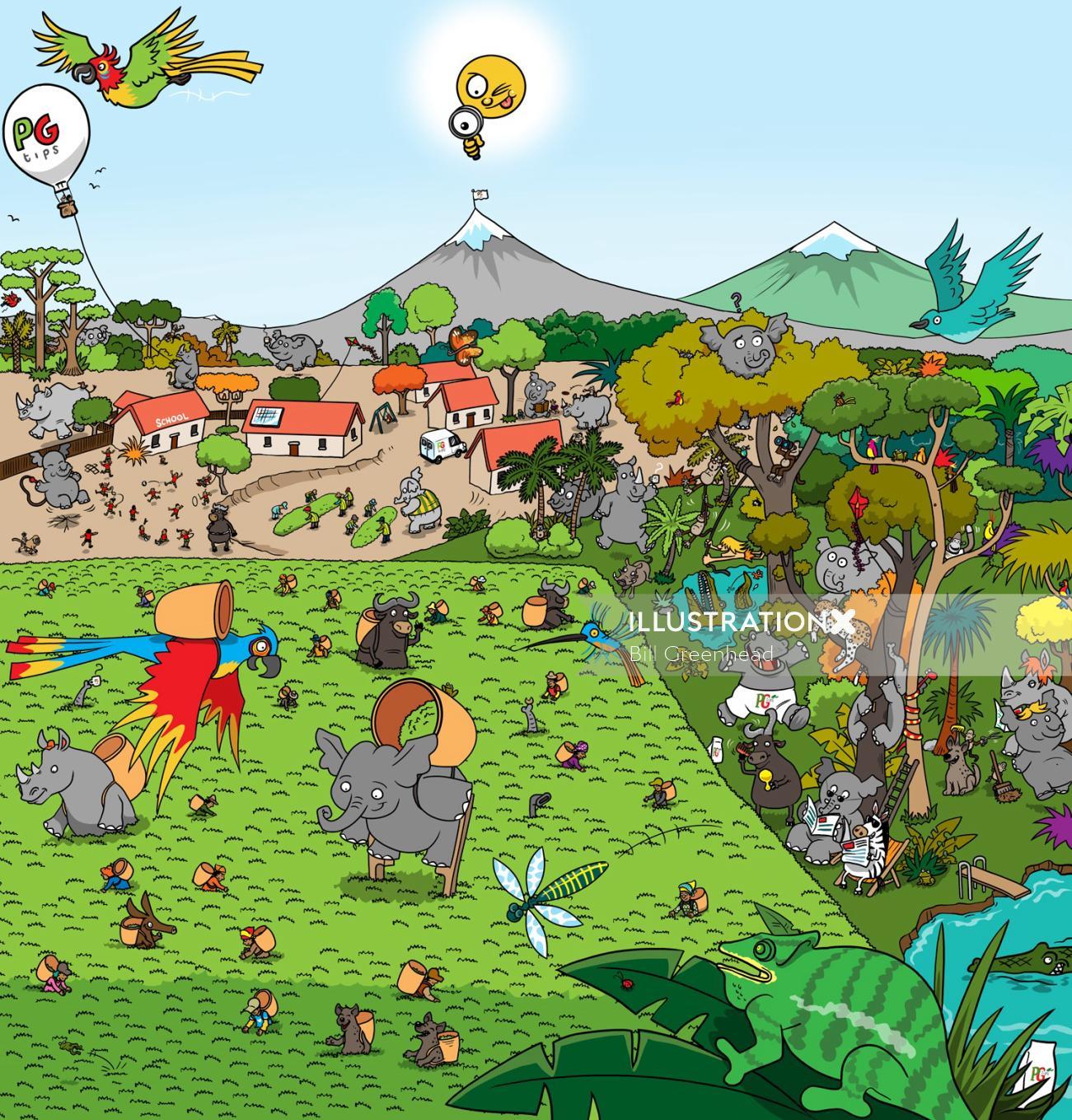 Animal illustration for children's book