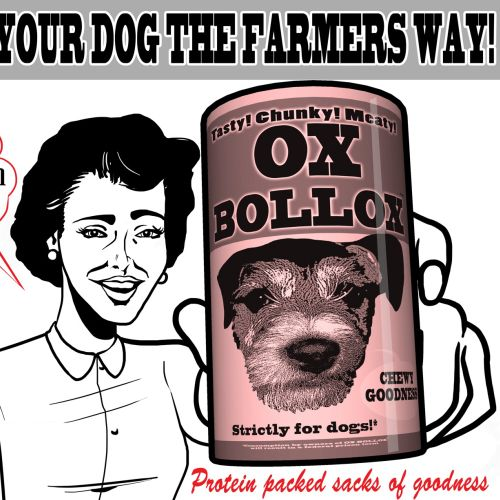 retro illustration of dog food