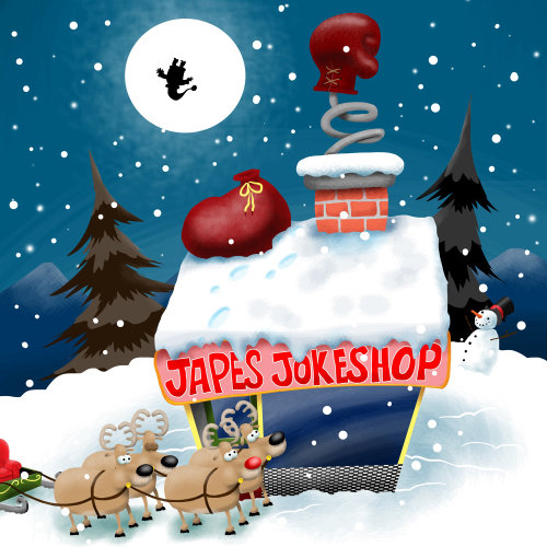 Japes jokeshop Christmas design by Bill Greenhead