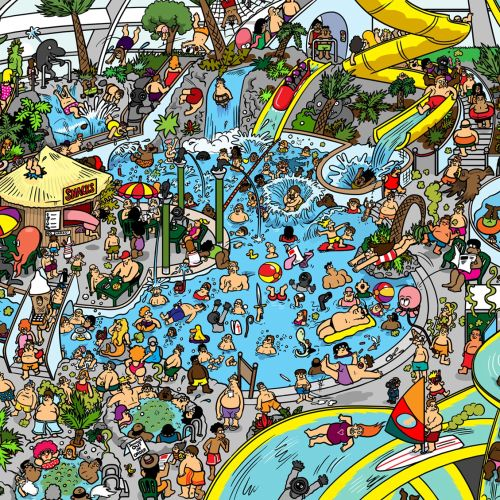 Graphic people in swimming pool