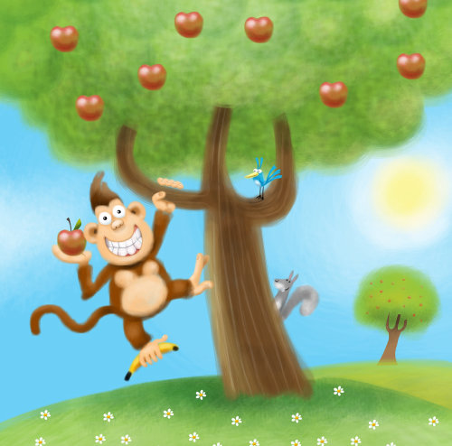 Graphic illustration of monkey wants an apple