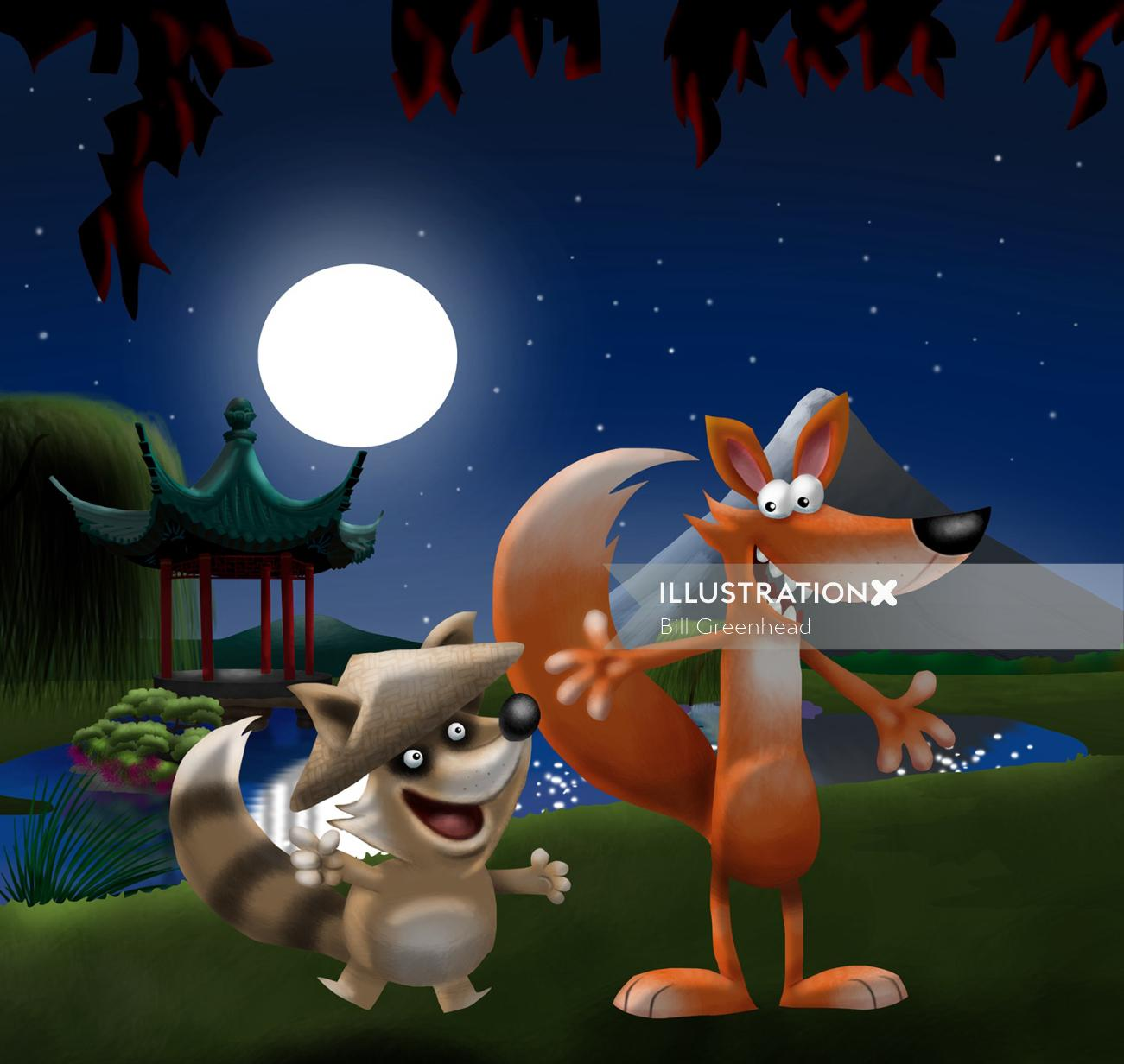 Fox and Raccoon Cartoon and humour