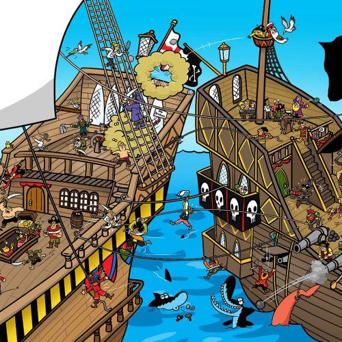 A pirate cartoon illustration