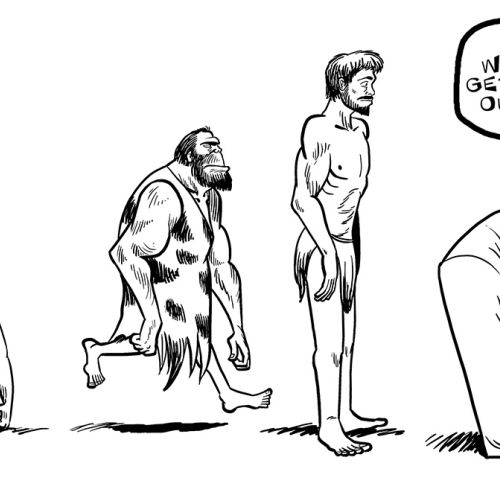 Man's Evolution to Couch line and ink made illustration
