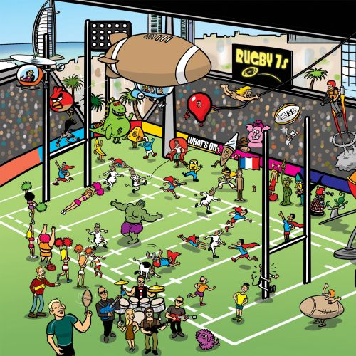 Dubhi Rugby 7's sports cover illustration
