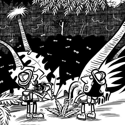 Black and white Jungle illustration