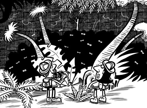 Black and white Jungle illustration