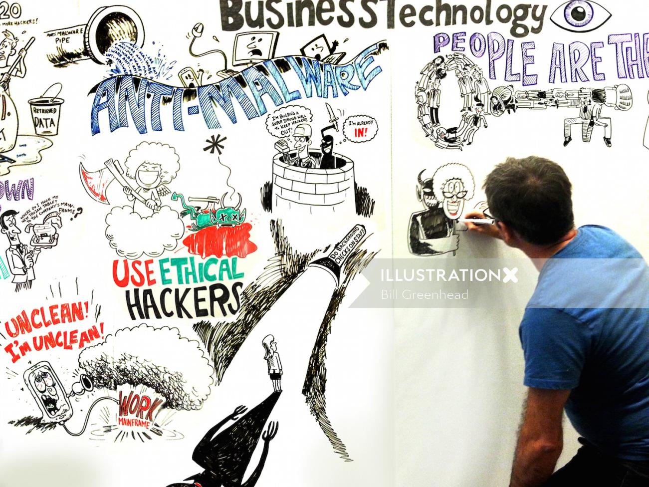 Live art on business technology by Bill Greenhead