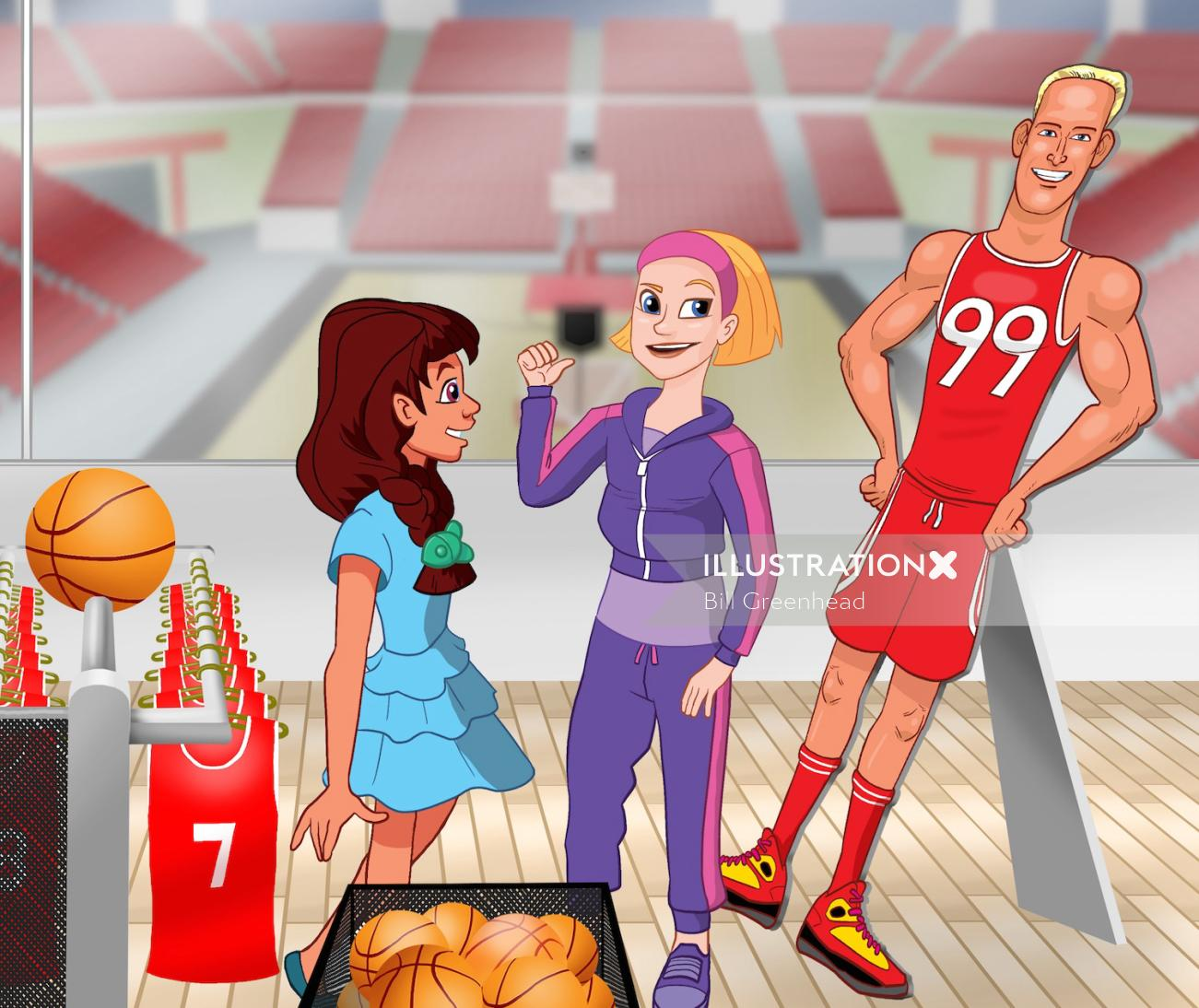People girls in basket ball place