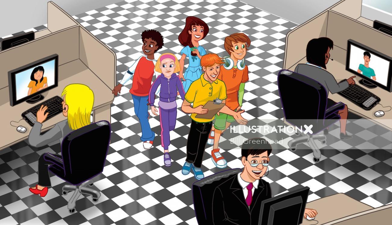 3d kids in internet café