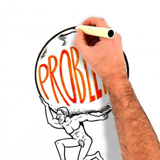 Problem concept- Man holiding huge stone Live drawing illustration by Bill Greenhead