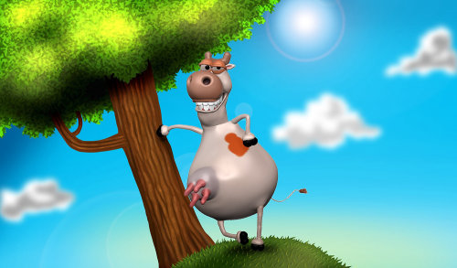 3D cow cartoon art