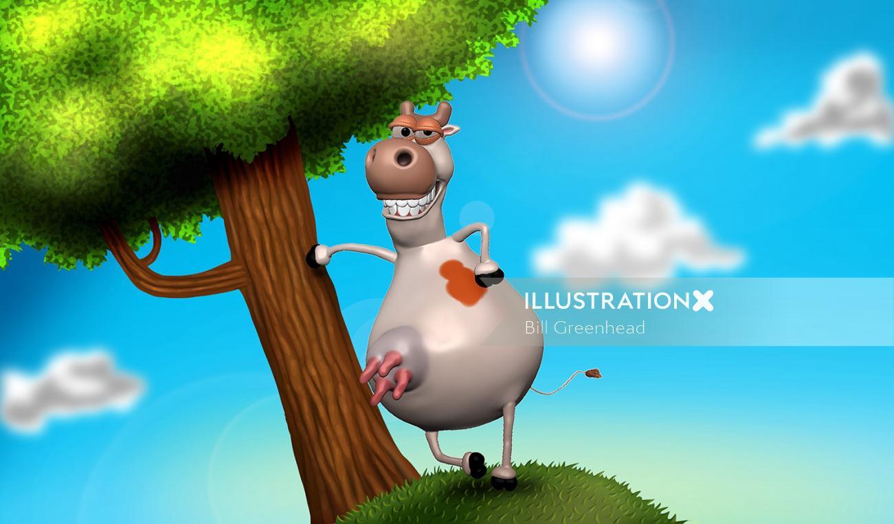 3D cow cartoon art