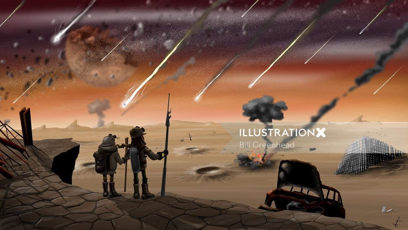 Desert nature sci fi comic strip