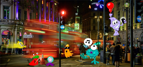 cartoon art London night street scene with Monsters