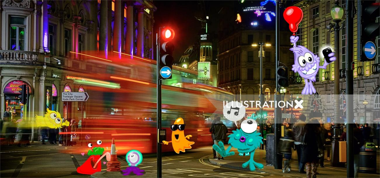 cartoon art London night street scene with Monsters