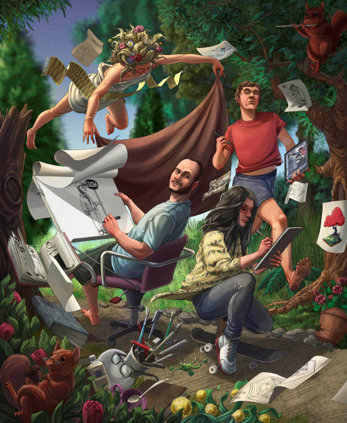 Illustration of characters in a forest