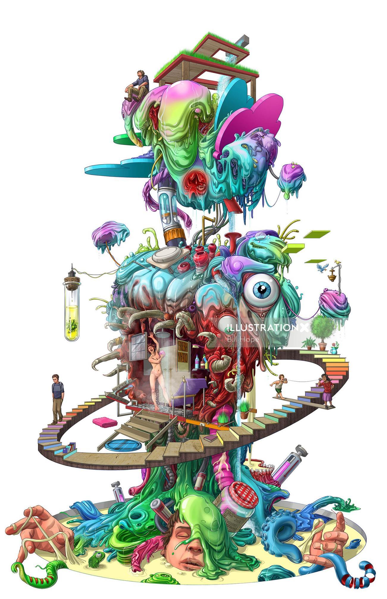 Illustration of abstract dream world
