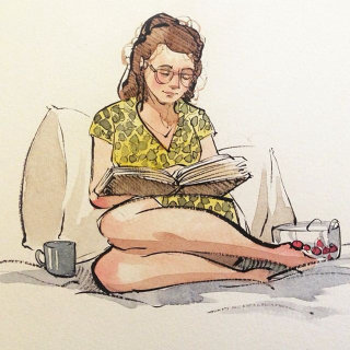 Illustration of girl reading book