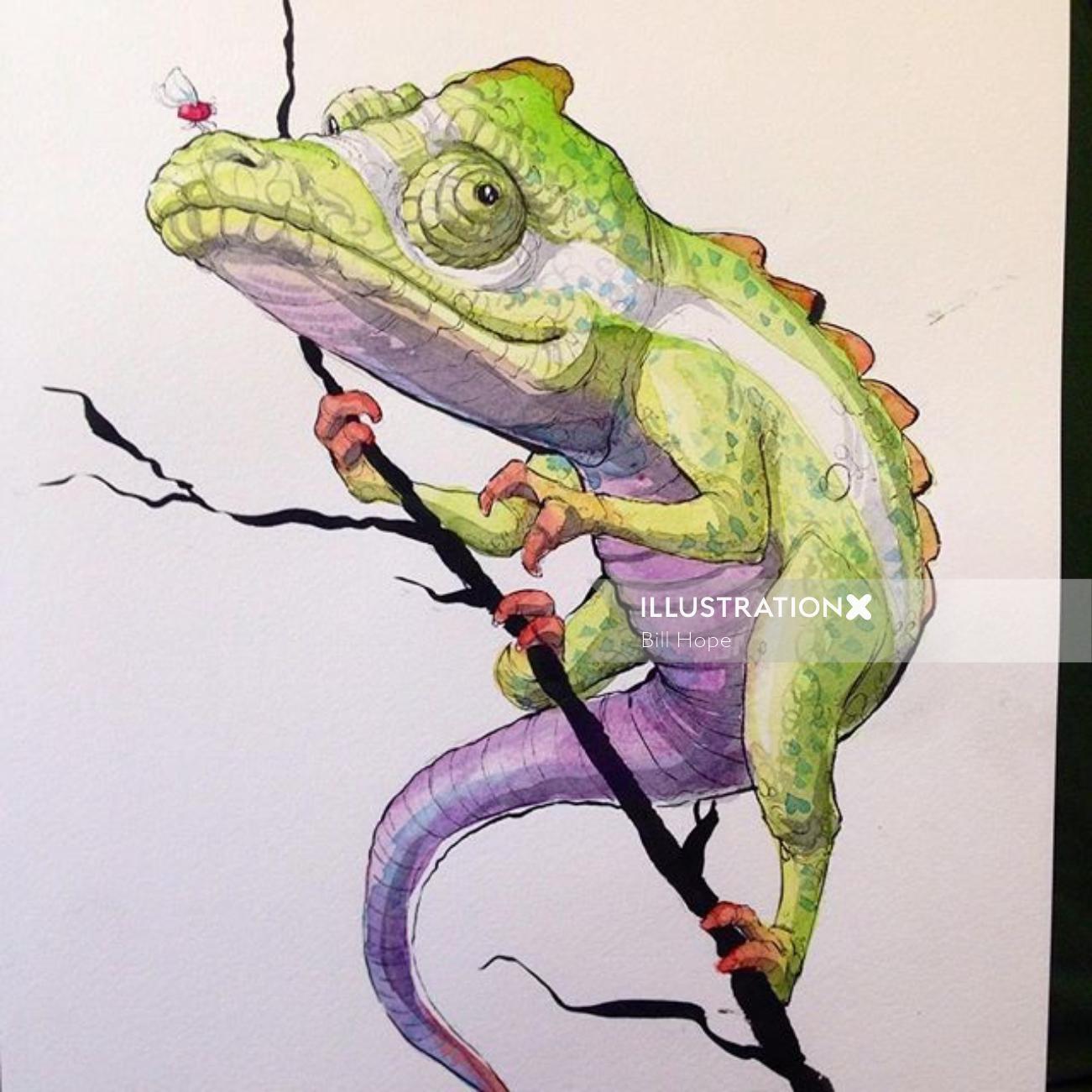 Illustration of a cartoon chamaeleons