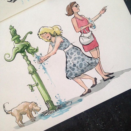 Watercolour art of Parisians at a watering fountain