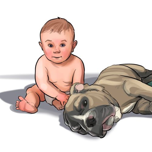 Children's illustration of cute baby with pet dog