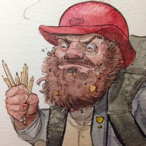 Illustration of angery elderly man