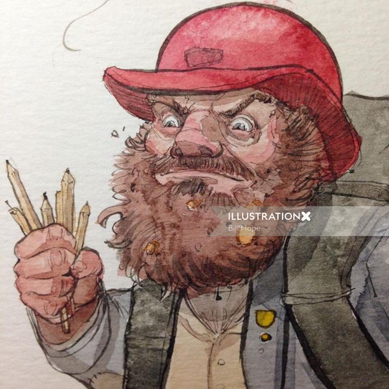 Illustration of angery elderly man