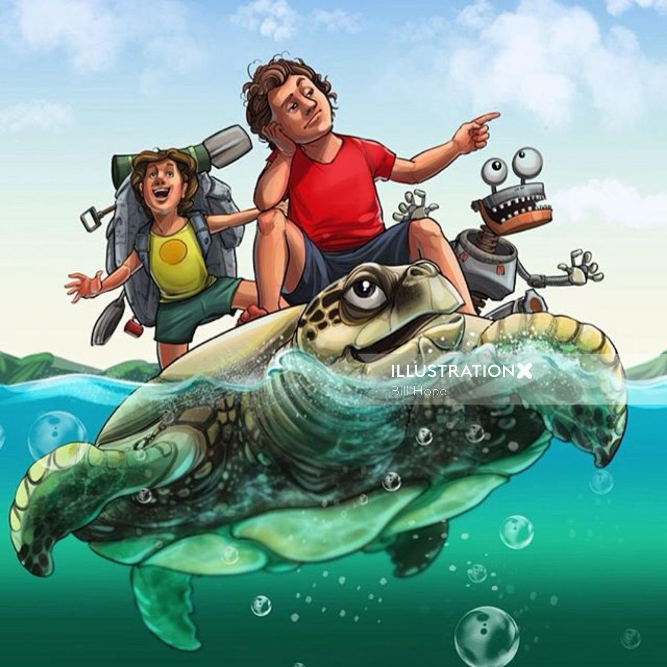 Illustration of kids travelling on a Tortoise