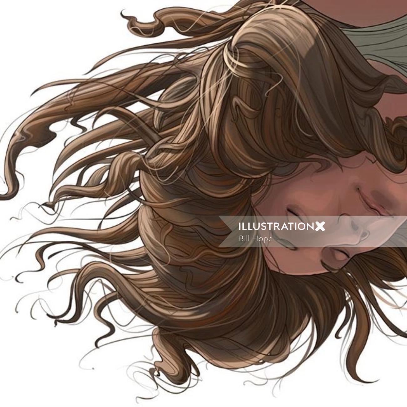 Woman upside down digital art