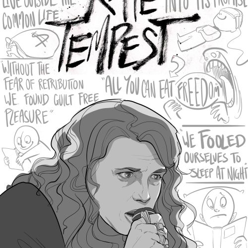 Black & White Drawing of Kate Tempest