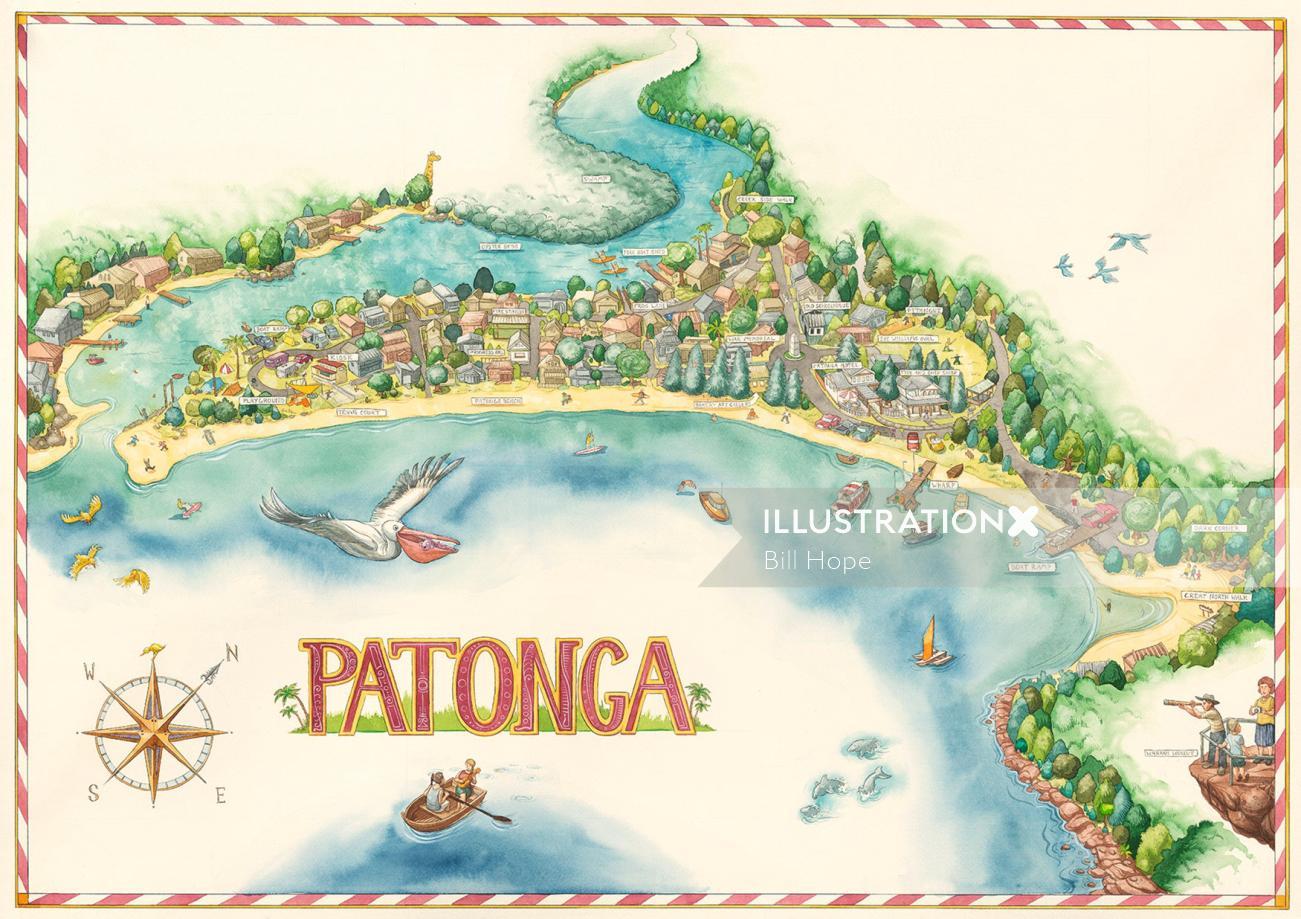 Patonga Beach Illustration by Bill Hope